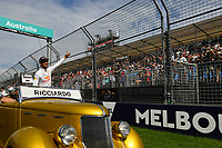 March 26, 2017: Daniel Ricciardo (AUS) #3 from the Red Bull Racing team waves to the crowd at the 2017 Australian Formula One Grand Prix at Albert Park, Melbourne, Australia. Photo Sydney Low