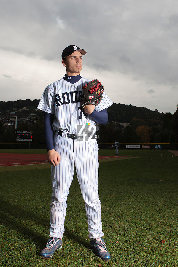 23 October 2010: Mathieu Brau of Rouen is seen prior to Savigny 8-7 win (in 12 innings) over Rouen, during game 3 of the French championship finals, in Rouen, France.