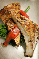 Slug: FD/Vegetarian.Date: Feb 23th, 2005.Photographer: Mark Finkenstaedt FTWP.Location: 2941 Restaurant. 2941 Fairview Park Drive. Falls Church.Caption: Chef Jonathan Krinn..**** 1. Balsamic Marinated Tofu, Seared Broccoli Rabe & Roasted Bell Peppers..2. Roasted Green & White Asparagus, Nicoise Olives -Garlic Chives..3.Sweet Potato Galette, Swiss Chard, Elephant Garlic and aged Balsamico