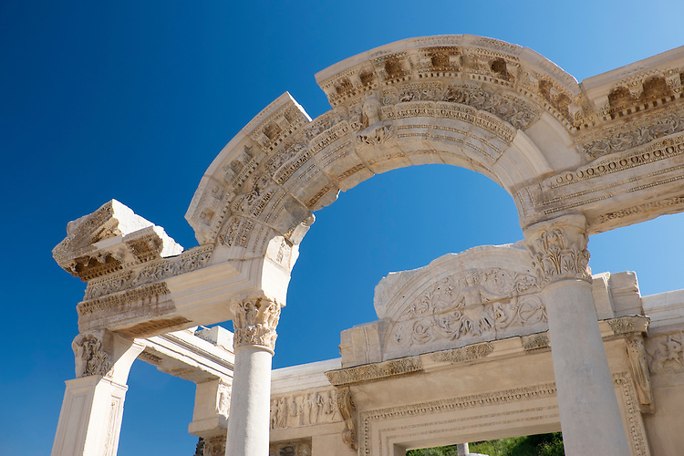 One of the most beautiful structures along Kouretes Street in Ephesus is the Temple of Hadrianus.