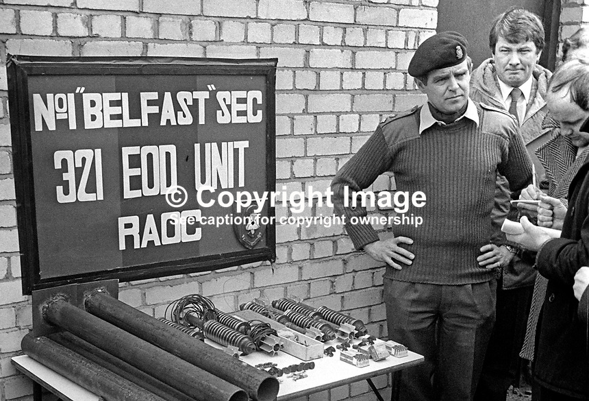 Colonel Peter Underhill, chief bomb disposal officer, puts on display at a Press Conference home-made Provisional IRA mortars uncovered by the British Army in a planned search. 6th April 1976. 197604060181<br />