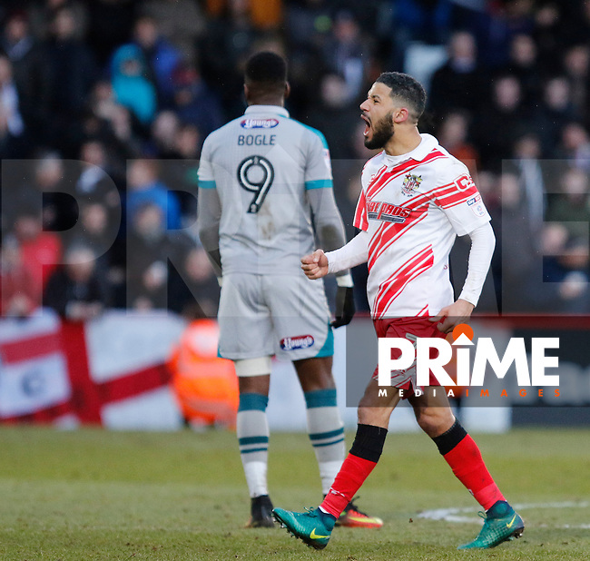 Stevenage's Jobi McAnuff rallies the fans after his goal during the Sky Bet League 2 match between Stevenage and Grimsby Town at the Lamex Stadium, Stevenage, England on 28 January 2017. Photo by Carlton Myrie / PRiME Media Images.