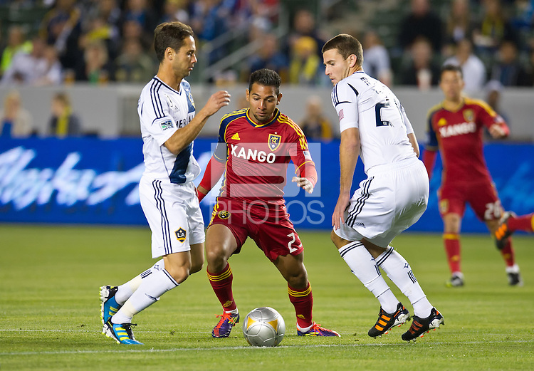 CARSON, CA - March 10,2012: Real Salt Lake forward Paulo Junior (23) during the LA Galaxy vs Real Salt Lake match at the Home Depot Center in Carson, California. Final score LA Galaxy 1, Real Salt Lake 3.