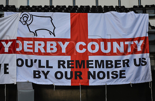21.2.2015.  Derby, England. Skybet Championship. Derby County versus Sheffield Wednesday. Derby County fans fly their flags ahead of the match.