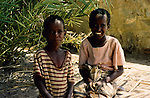 Djibouti. The Wadi Sheikh Etti palm grove. Children of the Afar tribe.