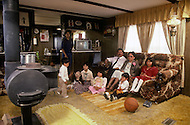May 6th to 13th, 1985 in Navajo Reserve, AZ. The family of Arnold and Theresa Yazzie, and their kids Dedia 14, Esther 9, Candice 8, Marion 6, Arnold 4, Andrew 2. This is a typical modern Navajo family inside their home in Fort Defiance, 10 minutes drive from Window Rock, AZ.