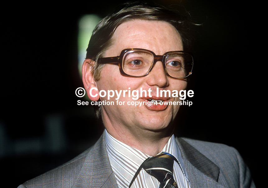 Jim McCusker, trade unionist, Northern Ireland Civil Service Alliance, April, 1982, 198204000029JMC<br /> <br /> Copyright Image from Victor Patterson,<br /> 54 Dorchester Park, <br /> Belfast, UK, BT9 6RJ<br /> <br /> t1: +44 28 9066 1296 (from Rep of Ireland 048 9066 1296)<br /> t2: +44 28 9002 2446 (from Rep of Ireland 048 9002 2446)<br /> <br /> m: +44 7802 353836<br /> <br /> e: victorpatterson@me.com<br /> www.victorpatterson.com<br /> <br /> Please see my Terms and Conditions of Use at www.victorpatterson.com. It is IMPORTANT that you familiarise yourself with them.<br /> <br /> Images used on the Internet must be visibly watermarked i.e. &copy; Victor Patterson<br /> within the body of the image and copyright metadata must not be deleted. Images <br /> used on the Internet have a size restriction of 4kbs and will be chargeable at current<br />  NUJ rates unless agreed otherwise.<br /> <br /> This image is only available for the use of the download recipient i.e. television station, newspaper, magazine, book publisher, etc, and must not be passed on to any third <br /> party. It is also downloaded on condition that each and every usage is notified within 7 days to victorpatterson@me.com<br /> <br /> The right of Victor Patterson to be identified as the author is asserted in accordance with The Copyright Designs And Patents Act (1988). All moral rights are asserted.
