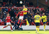 Blackburn Rovers' Darragh Lenihan heads away from Nottingham Forest's Joao Carvalho<br /> <br /> Photographer David Shipman/CameraSport<br /> <br /> The EFL Sky Bet Championship - Nottingham Forest v Blackburn Rovers - Saturday 13th April 2019 - The City Ground - Nottingham<br /> <br /> World Copyright © 2019 CameraSport. All rights reserved. 43 Linden Ave. Countesthorpe. Leicester. England. LE8 5PG - Tel: +44 (0) 116 277 4147 - admin@camerasport.com - www.camerasport.com