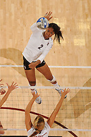 Stanford, CA - SEPTEMBER 11:  Middle blocker Janet Okogbaa #2 of the Stanford Cardinal during Stanford's 25-17, 25-16, 26-24 win against the New Mexico State Aggies in the Stanford Invitational on September 11, 2008 at Maples Pavilion in Stanford, California.