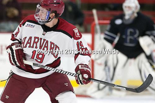 Jimmy Vesey (Harvard - 19) - The Harvard University Crimson defeated the visiting Bentley University Falcons 3-0 on Saturday, October 26, 2013, in Harvard's season opener at Bright-Landry Hockey Center in Cambridge, Massachusetts.
