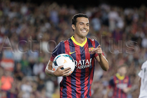 02.08.2013 Barcelona, Spain. Joan Gamper Trophee. Picture shows Pedro in action during game between FC Barcelona against Santos at Camp Nou
