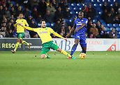 1st December 2017, Cardiff City Stadium, Cardiff, Wales; EFL Championship Football, Cardiff City versus Norwich City; Mario Vrancic of Norwich City stretches to tackle Sol Bamba of Cardiff City in midfield