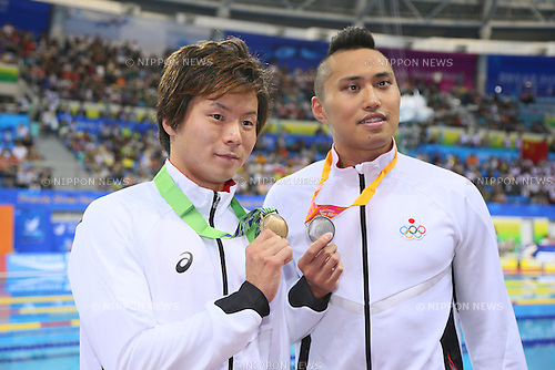 (L to R) <br /> Kenta Ito, <br /> Shinri Shioura (JPN), <br /> SEPTEMBER 23, 2014 - Swimming : <br /> Men's 50m Freestyle Medal Ceremony <br /> at Munhak Park Tae-hwan Aquatics Center <br /> during the 2014 Incheon Asian Games in Incheon, South Korea. <br /> (Photo by YUTAKA/AFLO SPORT)