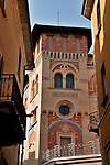 A painted building in the old town of Locarno, Switzerland