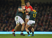 2nd December 2017, Principality Stadium, Cardiff, Wales; Autumn International Rugby Series, Wales versus South Africa; Hadleigh Parkes of Wales is tackled by Dan du Preez and Jesse Kriel of South Africa