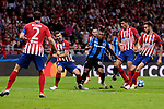 Atletico de Madrid's Lucas Hernandez and Club Brugge's Lois Openda during UEFA Champions League match between Atletico de Madrid and Club Brugge at Wanda Metropolitano Stadium in Madrid, Spain. October 03, 2018. (ALTERPHOTOS/A. Perez Meca)