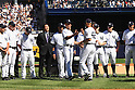 Mariano Rivera (Yankees),<br /> SEPTEMBER 22, 2013 - MLB :<br /> Mariano Rivera of the New York Yankees shakes hands with Derek Jeter as Hideki Matsui (4th L) watches them during Rivera's retirement ceremony before the Major League Baseball game against the San Francisco Giants at Yankee Stadium in The Bronx, New York, United States. (Photo by Thomas Anderson/AFLO) (JAPANESE NEWSPAPER OUT)