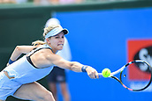 11th January 2018,  Kooyong Lawn Tennis Club, Kooyong, Melbourne, Australia; Priceline Pharmacy Kooyong Classic tennis tournament; Eugenie Bouchard of Canada extends her arm out to return to Destanee Aiava of Australia