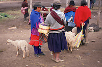 Some women with their purchases from Saquisili Market.