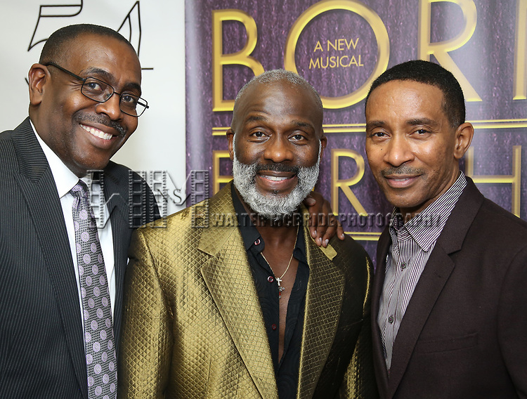 "Ron Gillyard, BeBe Winans and Charles Randolph-Wright backstage after a Song preview performance of the Bebe Winans Broadway Bound Musical ""Born For This"" at Feinstein's 54 Below on November 5, 2018 in New York City."