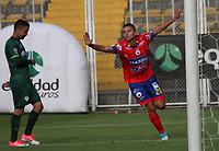BOGOTA - COLOMBIA - 15 - 07 - 2017: Juan Pablo Ramírez jugador de Deportivo Pasto, celebra el gol anotado a La Equidad, durante partido entre La Equidad y Deportivo Pasto, por la fecha 2 de la Liga Aguila II-2017, jugado en el estadio Metropolitano de Techo de la ciudad de Bogota. / Juan Pablo Ramirez player of Deportivo Pasto,  celebrates a scored goal to La Equidad, during a match between La Equidad and Deportivo Pasto, for the  date 2nd of the Liga Aguila II-2017 at the Metropolitano de Techo Stadium in Bogota city, Photo: VizzorImage  / Felipe Caicedo / Staff.