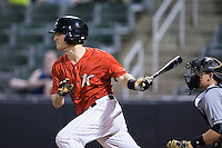Grant Massey (16) of the Kannapolis Intimidators lines an RBI single to right field against the West Virginia Power at Kannapolis Intimidators Stadium on August 20, 2016 in Kannapolis, North Carolina.  The Intimidators defeated the Power 4-0.  (Brian Westerholt/Four Seam Images)