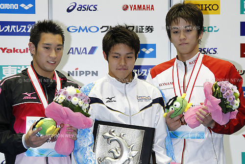 (L-R)<br /> Yuta Oshikiri<br /> Kazuki Kohinata,<br /> Yukihiro Takahashi,<br /> APRIL 13, 2014 - Swimming : <br /> JAPAN SWIM 2014 <br /> Men's 200m Breaststroke Vicrotry ceremony<br /> at Tatsumi International Swimming Pool, Tokyo, Japan. <br /> (Photo by AFLO SPORT)