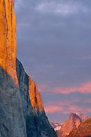 El Capitan and Half Dome<br /> Yosemite Valley<br /> Yosemite National Park<br /> Sierra Nevada,  California
