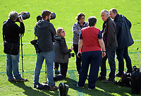Photographers and tour communications staff chat during the 2017 DHL Lions Series British & Irish Lions kicking practice at Eden Park in Auckland, New Zealand on Friday, 7 July 2017. Photo: Dave Lintott / lintottphoto.co.nz