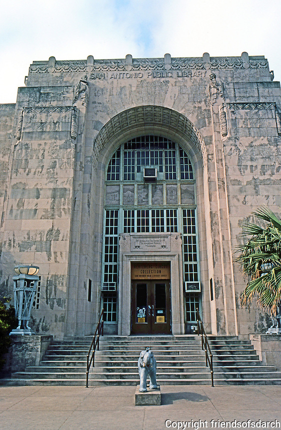 San Antonio:  Old Main Library, 1930. Herbert S. Green, Architect.  Photo '80.