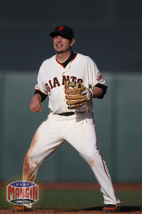SAN FRANCISCO - MAY 21:  Freddy Sanchez of the San Francisco Giants plays defense at second base against the Oakland Athletics during the game at AT&T Park on Saturday, May 21, 2011 in San Francisco, California. Photo by Brad Mangin