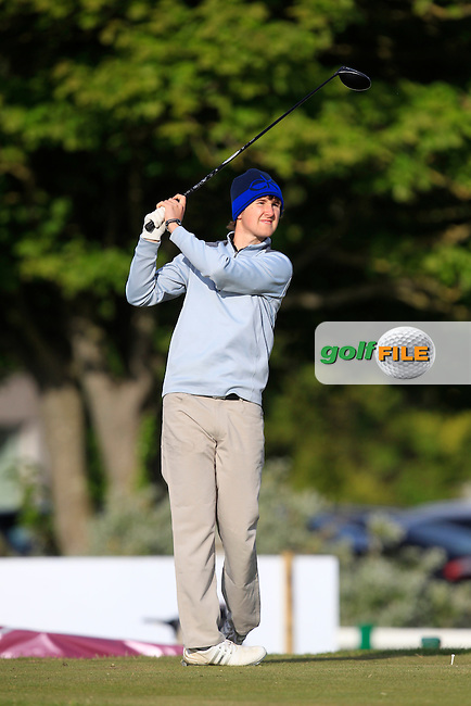 Colm Crowley (Woodbrook) on the 1st tee during Round 1 of the East of Ireland Amateur Open Championship at Co. Louth Golf Club, Baltray on Saturday 30th May 2015.<br /> Picture:  Thos Caffrey / www.golffile.ie