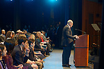 Hempstead, New York, USA. January 1, 2018. U.S. Senator CHUCK SCHUMER of New York is speaking at podium during Swearing-In ceremony of Laura Gillen as Hempstead Town Supervisor, and Sylvia Cabana as Hempstead Town Clerk, at Hofstra University.