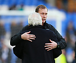 Coach Duncan Ferguson gives Everton chairman Bill Kenwright a hug during the premier league match at the Goodison Park Stadium, Liverpool. Picture date 2nd December 2017. Picture credit should read: Simon Bellis/Sportimage