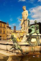 Fountain & Statue of Neptune - Plazza Della Signora - Florence Italy.