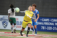 Goalkeeper Kristin Luckenbill throws the ball after saving a shot from Athletica's Eniola Aluko. Saint Louis Athletica defeated the Boston Breakers 1-0 in Cambridge, Massachusetts on June 14, 2009.