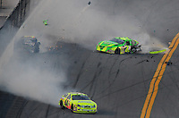 Feb 7, 2009; Daytona Beach, FL, USA; ARCA RE/MAX Series driver Patrick Sheltra (60) is hit by Larry Hollenbeck (23) as Frank Kimmel (44) spins during the Lucas Oil Slick Mist 200 at Daytona International Speedway. Mandatory Credit: Mark J. Rebilas-