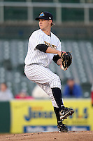 Trenton Thunder pitcher Josh Romanski #23 during a game against the Portland SeaDogs at Waterfront Park on April 9, 2012 in Trenton, New Jersey.  Trenton defeated Portland 8-3.  (Mike Janes/Four Seam Images)