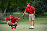 SUGAR GROVE, IL - MAY 29: Head Coach Chris Malloy and Braden Thornberry of Ole Miss line up a putt during the Division I Men's Golf Individual Championship held at Rich Harvest Farms on May 29, 2017 in Sugar Grove, Illinois. Thornberry won the individual national title with a -11 score. (Photo by Jamie Schwaberow/NCAA Photos via Getty Images)