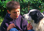 A0741Y Eleven year old boy with his pet collie sheepdog