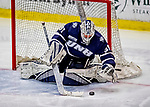 9 February 2019: University of New Hampshire Wildcat Goaltender Mike Robinson, a Sophomore from Bedford, NH, makes a third period save against the University of Vermont Catamounts at Gutterson Fieldhouse in Burlington, Vermont. The Wildcats fell to the Catamounts 4-1 splitting their 2-game Hockey East weekend series. Mandatory Credit: Ed Wolfstein Photo *** RAW (NEF) Image File Available ***