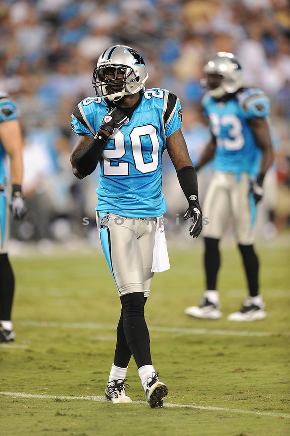 CHRIS GAMBLE, of the Carolina Panthers, in action during the Panthers game against the Tennessee Titans  at Bank of America Stadium in Charlotte, North Carolina on Saturday, August 28, 2010.   The Panthers  would defeat the Titans 15-7....