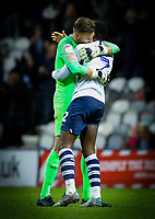 Preston North End's Declan Rudd celebrates his side's goal with Darnell Fisher<br /> <br /> Photographer Alex Dodd/CameraSport<br /> <br /> The EFL Sky Bet Championship - Preston North End v Leeds United - Tuesday 22nd October 2019 - Deepdale Stadium - Preston<br /> <br /> World Copyright © 2019 CameraSport. All rights reserved. 43 Linden Ave. Countesthorpe. Leicester. England. LE8 5PG - Tel: +44 (0) 116 277 4147 - admin@camerasport.com - www.camerasport.com