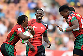 January 27th, Hamilton, New Zealand;  Kenyan players celebrate a try during the Day 2 of the HSBC World Rugby Sevens Series 2019, FMG Stadium Waikato,Hamilton, Sunday 27th January 2019.
