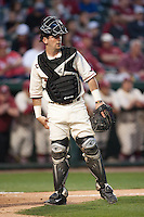 Arkansas Razorbacks catcher Jake Wise (19) behind the plate at Baum Stadium during the NCAA baseball game against the Alabama Crimson Tide on March 21, 2014 in Fayetteville, Arkansas.  The Alabama Crimson Tide defeated the Arkansas Razorbacks 17-9.  (William Purnell/Four Seam Images)