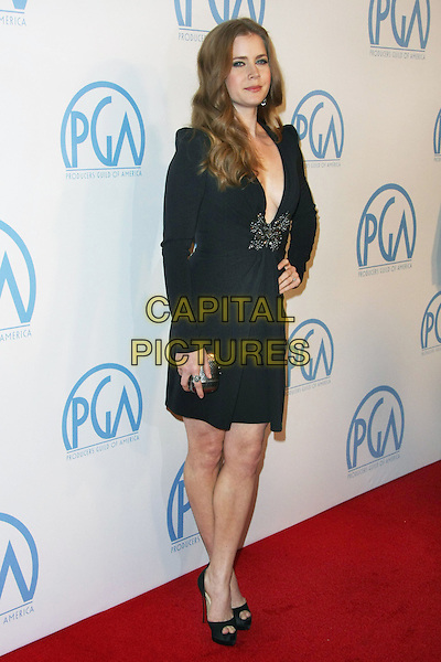 AMY ADAMS .22nd Annual Producers Guild Awards held at The Beverly Hilton, Beverly Hills, California, USA, 22nd January 2011..full length long sleeve dress hand on hip low cut cleavage beaded black peep toe shoes platform clutch bag .CAP/ADM/TB.©Tommaso Boddi/AdMedia/Capital Pictures.