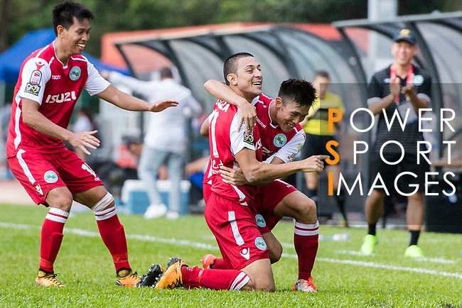 Wellingsson De Souza of Kwoon Chung Southern (C) celebrating his score during the Premier League, week two match between Kwoon Chung Southern and BC Rangers at on September 09, 2017 in Hong Kong, China. Photo by Marcio Rodrigo Machado / Power Sport Images