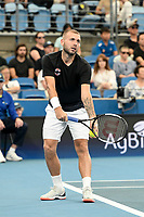 7th January 2020; Sydney Olympic Park Tennis Centre, Sydney, New South Wales, Australia; ATP Cup Australia, Sydney, Day 5; Great Britain versus Moldova; Daniel Evans of Great Britain versus Radu Albot of Moldova; Daniel Evans of Great Britain prepares to serve to Radu Albot of Moldova - Editorial Use