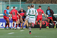 Leroy VAN DAM of Jersey Reds (3rd left) celebrates after he scores his try during the Greene King IPA Championship match between Ealing Trailfinders and Jersey Reds at Castle Bar , West Ealing , England  on 22 December 2018. Photo by David Horn.
