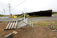 A construction trailer in Hatteras Village, N.C.,  flipped on its side by winds from Hurricane Florence, the only damage reported from the storm,  Friday, Sept. 14, 2018. (Steve Earley /The Virginian-Pilot via AP)